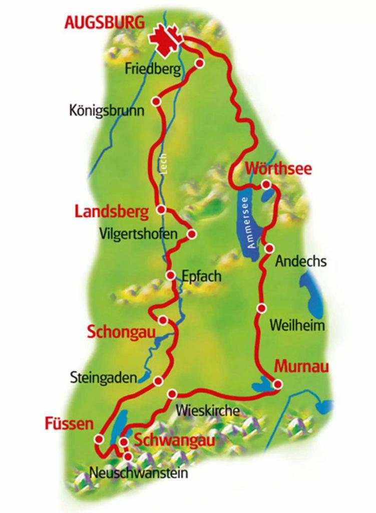 ロマンティック街道とバイエルンの湖 ルートマップ